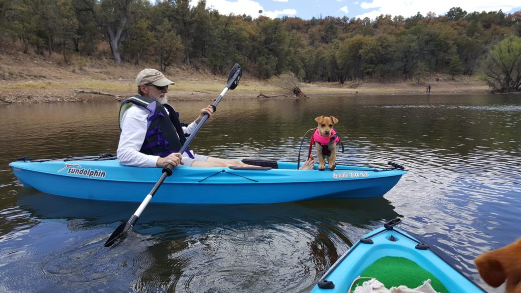 Dr. Tim Ireland takes Dobby out on his first kayaking trip! Photo courtesy Tina Ireland
